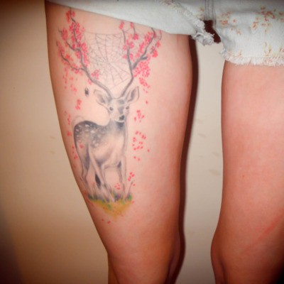 Weird but cool deer tattoo