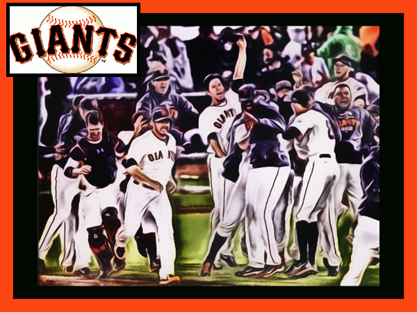 The San Francisco Giants celebrate winning the national league pennant october 22, 2012