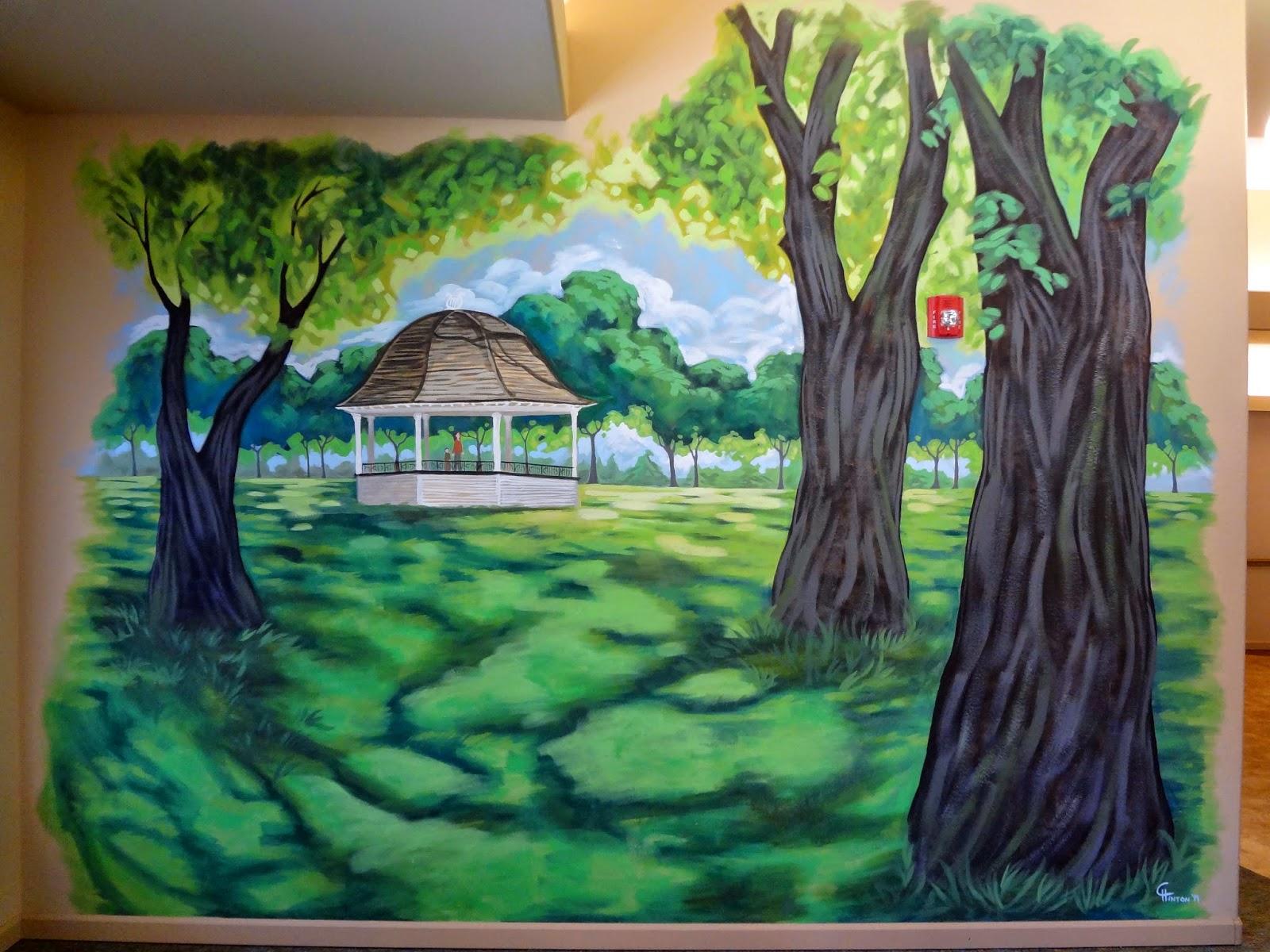 portland oregon muralist, memory care mural, pioneer park walla walla, park mural