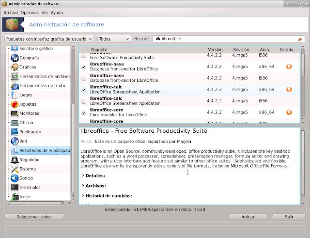 Ventana de instalacion de LibreOffice