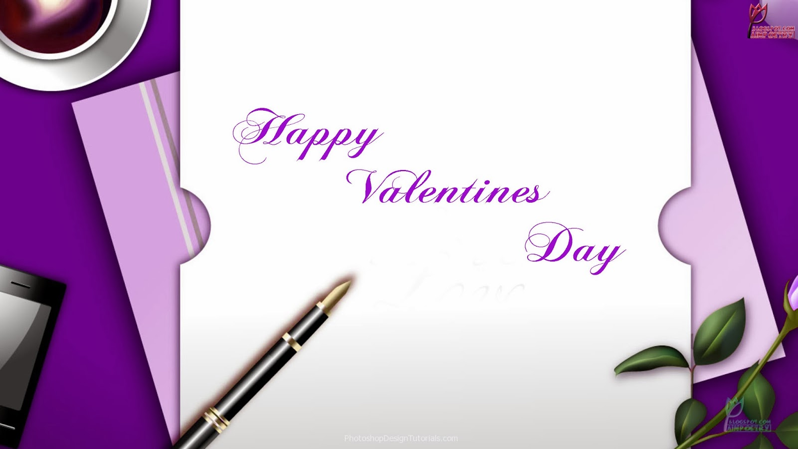 Happy-Valentines-Day-Wishes-Wallpaper-With-Pen-And-Notpad-Image-HD-Wide