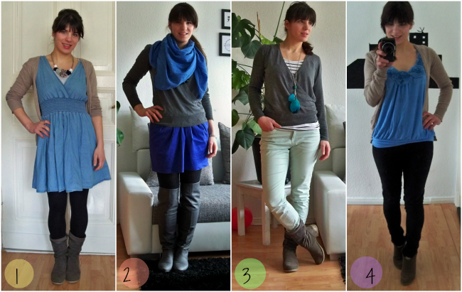 Fashion Challenge Outfits 1, 2, 3 und 4