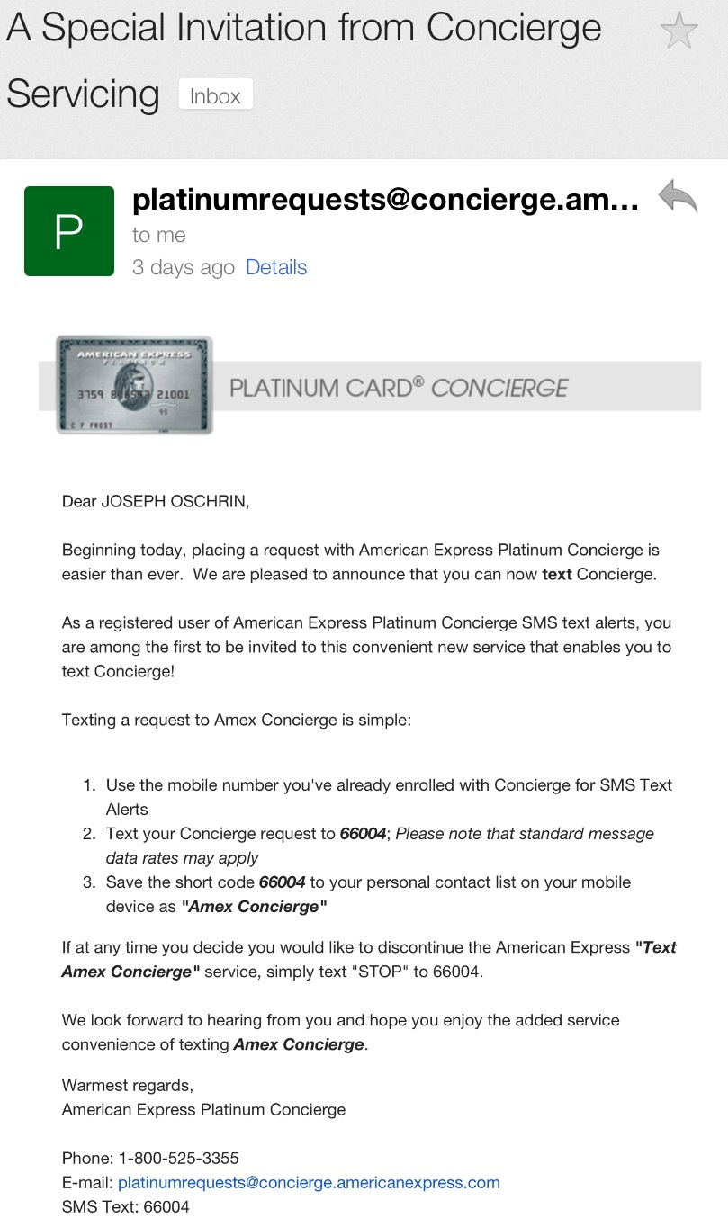 American Express Platinum Customer Service >> New American Express Platinum Benefit Text Concierge Window Suite
