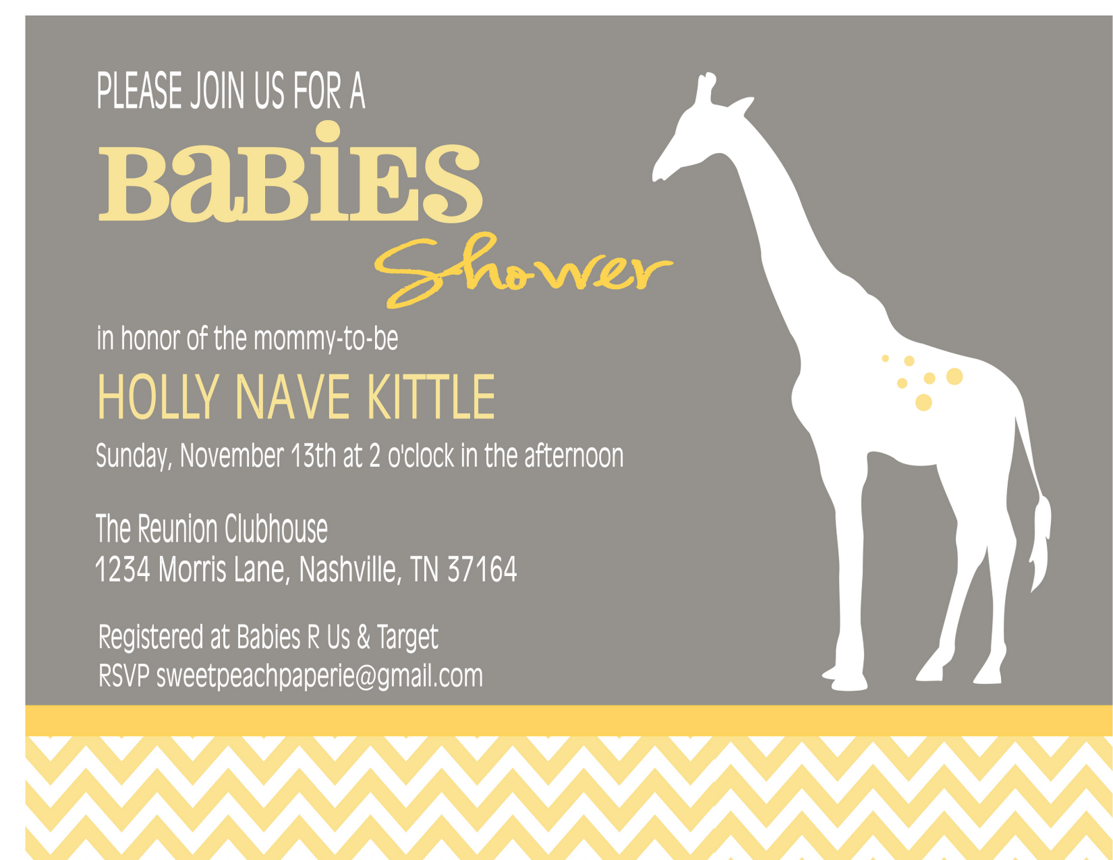 mod giraffe chevron collection baby shower invitation sweet peach