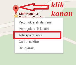 menentukan lintang dan bujur dengan google maps