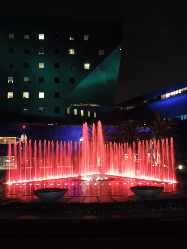 Pacific Design Center night fountains