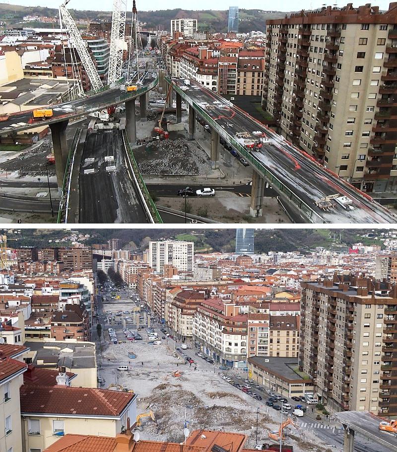 demolición,viaducto,Sabino Arana,Bilbao,autovía