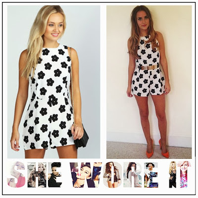 Black, Boohoo, Floral, Floral Print, Flower, Lucy Watson, Made In Chelsea, Playsuit, Round Neck, White,