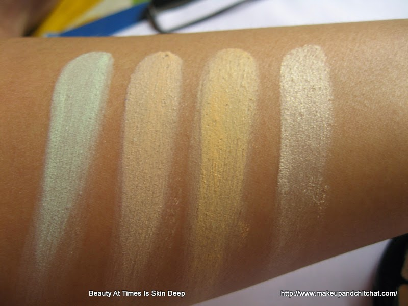 Swatches of Isadora Cosmetics Color Correcting Wheel Anti Redness