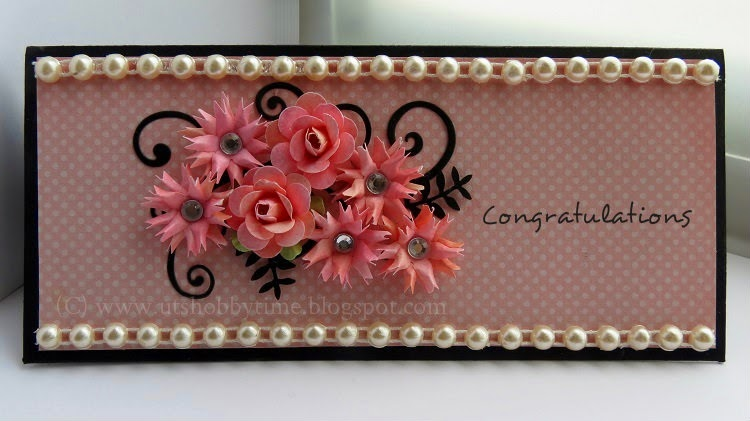 Uts hobby time handmade congratulations greeting card long paper flower tutorial long skinny card mightylinksfo