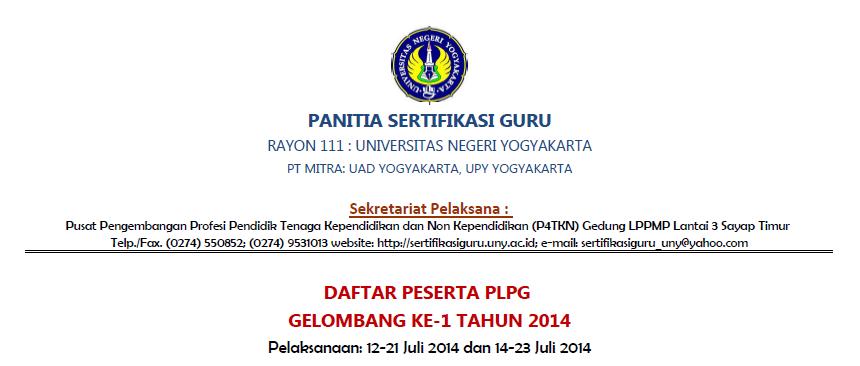 Informasi Jadwal Lengkap PLPG Rayon 111 2014