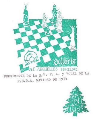 Felicitación navideña de 1974 de Antonio F. Argüelles, Presidente de la SEPA y Vocal de la Federación Española de Ajedrez