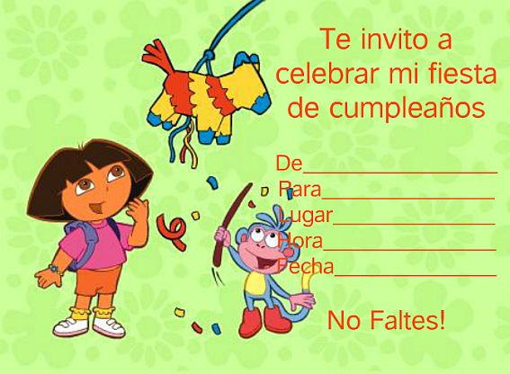 MuyAmeno.com: Tarjetas e Invitaciones de Dora la Exploradora para ...