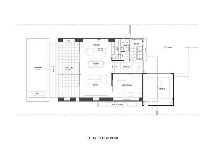 Ground floor plan of Small minimalist home by Steven Kent