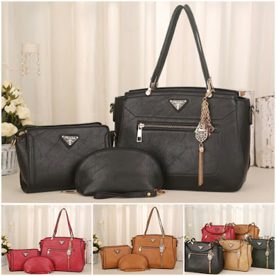 PRADA BAG ( 3 IN 1 SET ) - BLACK , RED , BROWN
