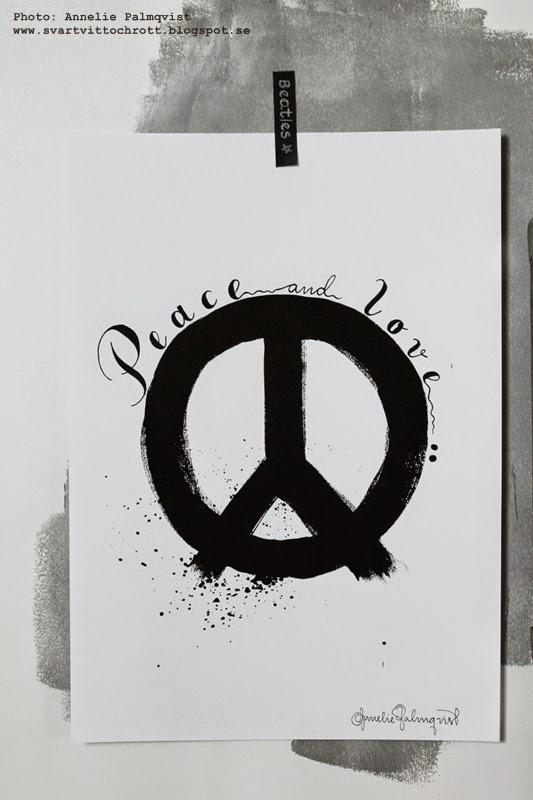 peace, poster, posters, tavlor, svartvit tavla, svart och vitt, svarta och vita tavlor, artprint, artprints, konsttryck, annelie palmqvist