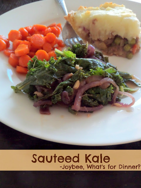 Sauteed Kale:  Warm kale sauteed until tender and flavored with onions, garlic, and balsamic vinegar.