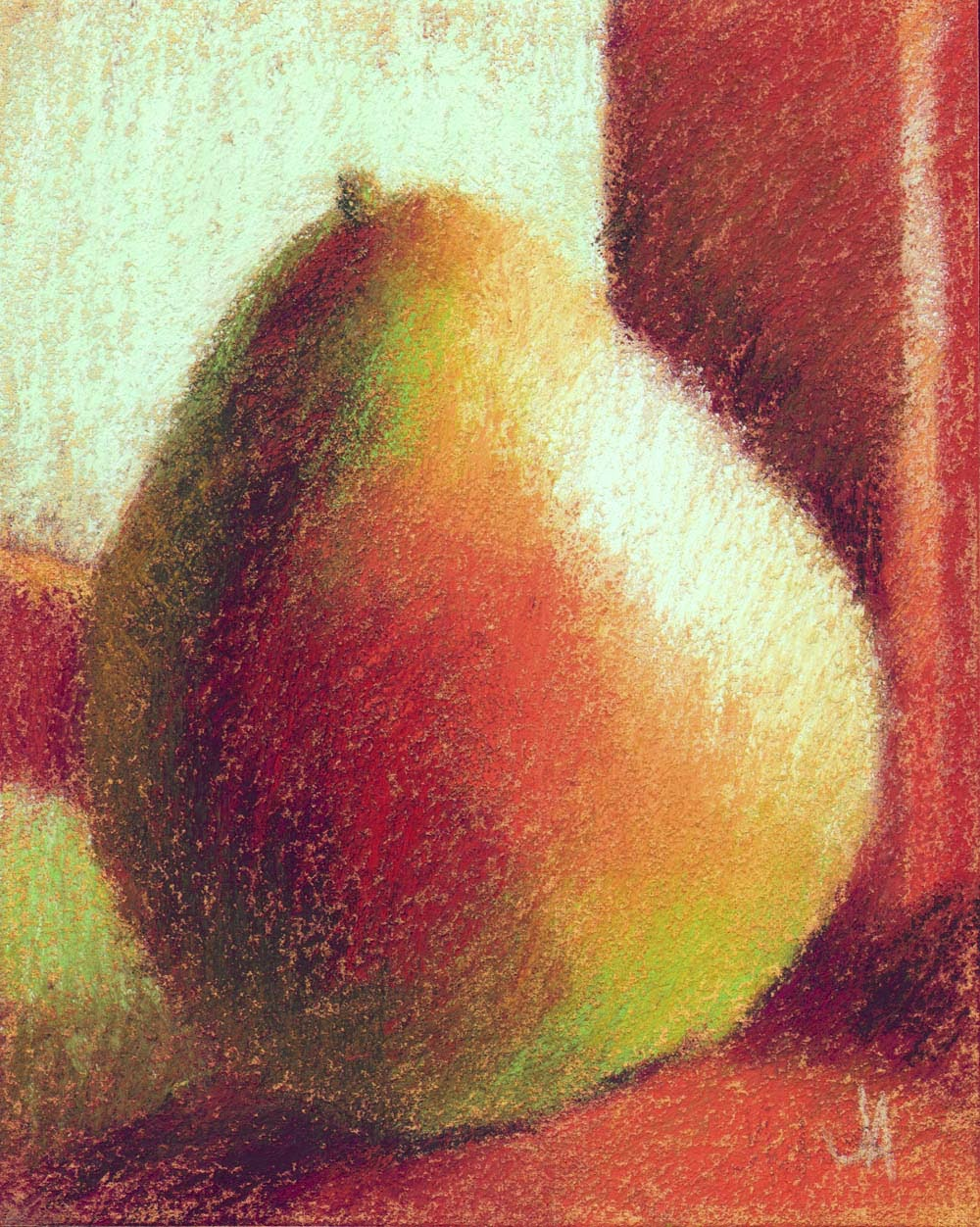 original still life pear pastel art painting artist janine aykens