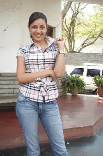 Kajal agarwal in shirt and jeans wallpaper