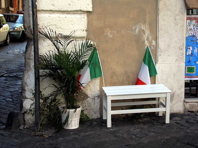 Patriotic bench with tricolors, Rome