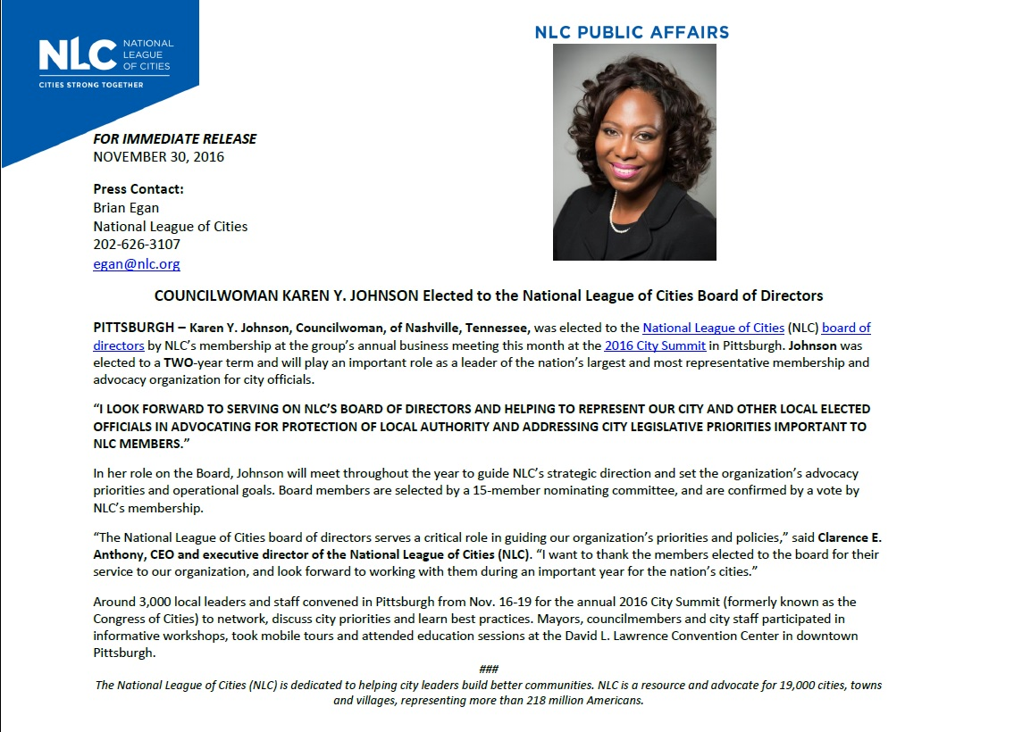 Councilwoman Karen Y. Johnson Elected to National League of Cities Board of Directors 2016-2018