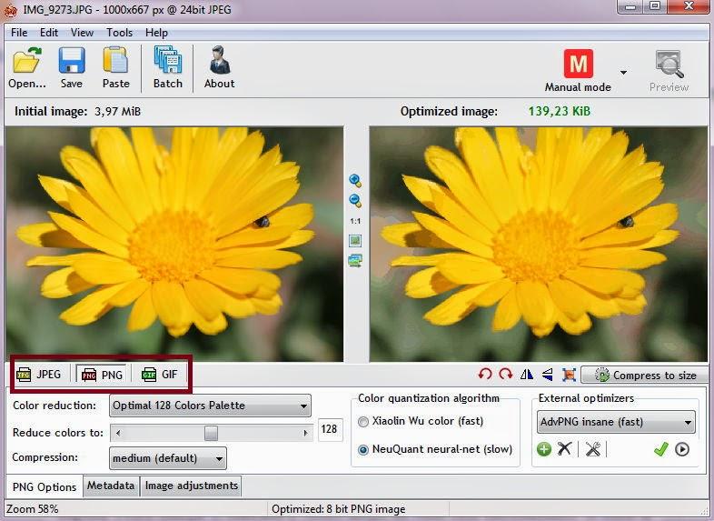 Podemos optimizar jpeg, png y gif