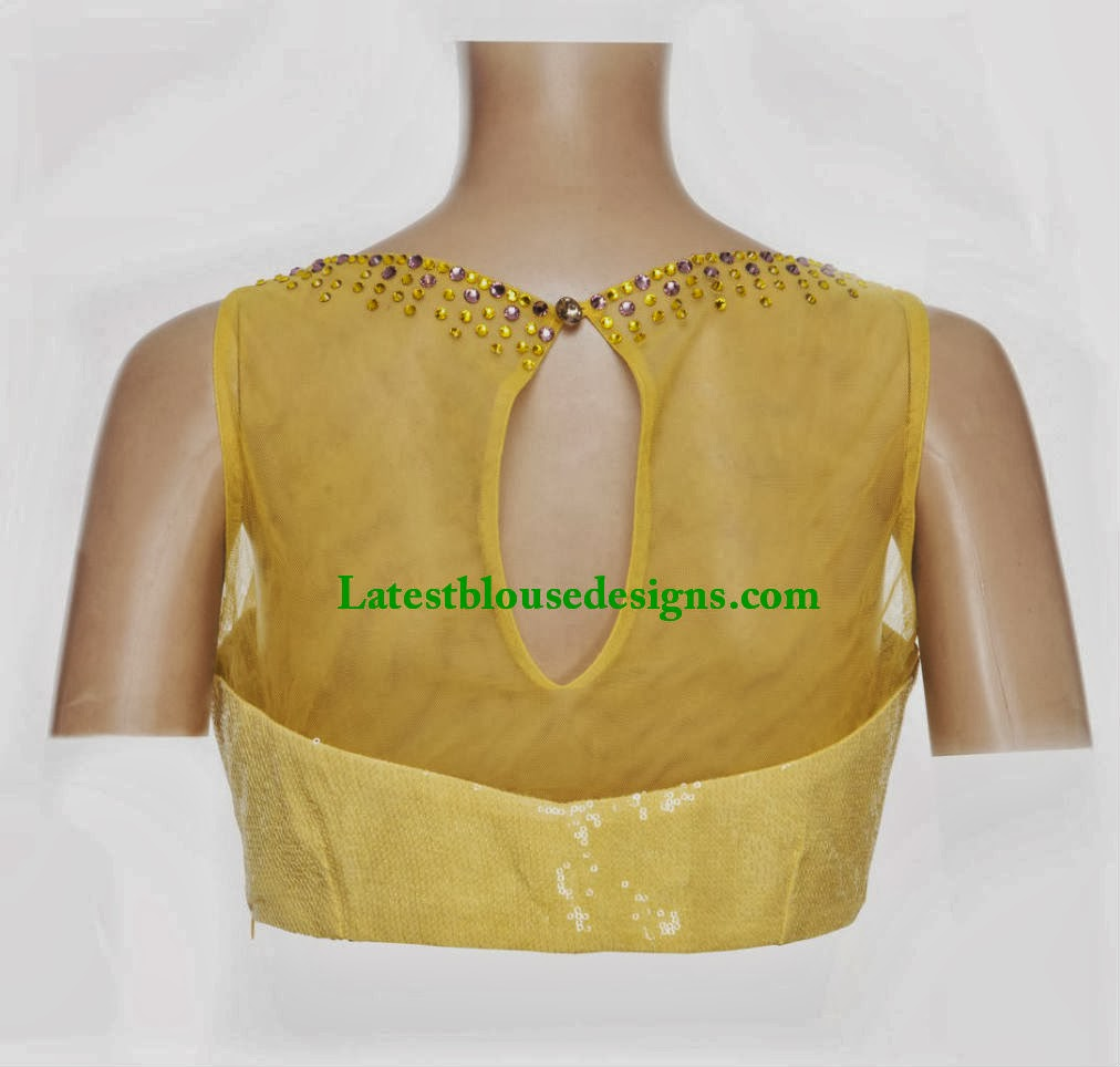 blouse with net on the back