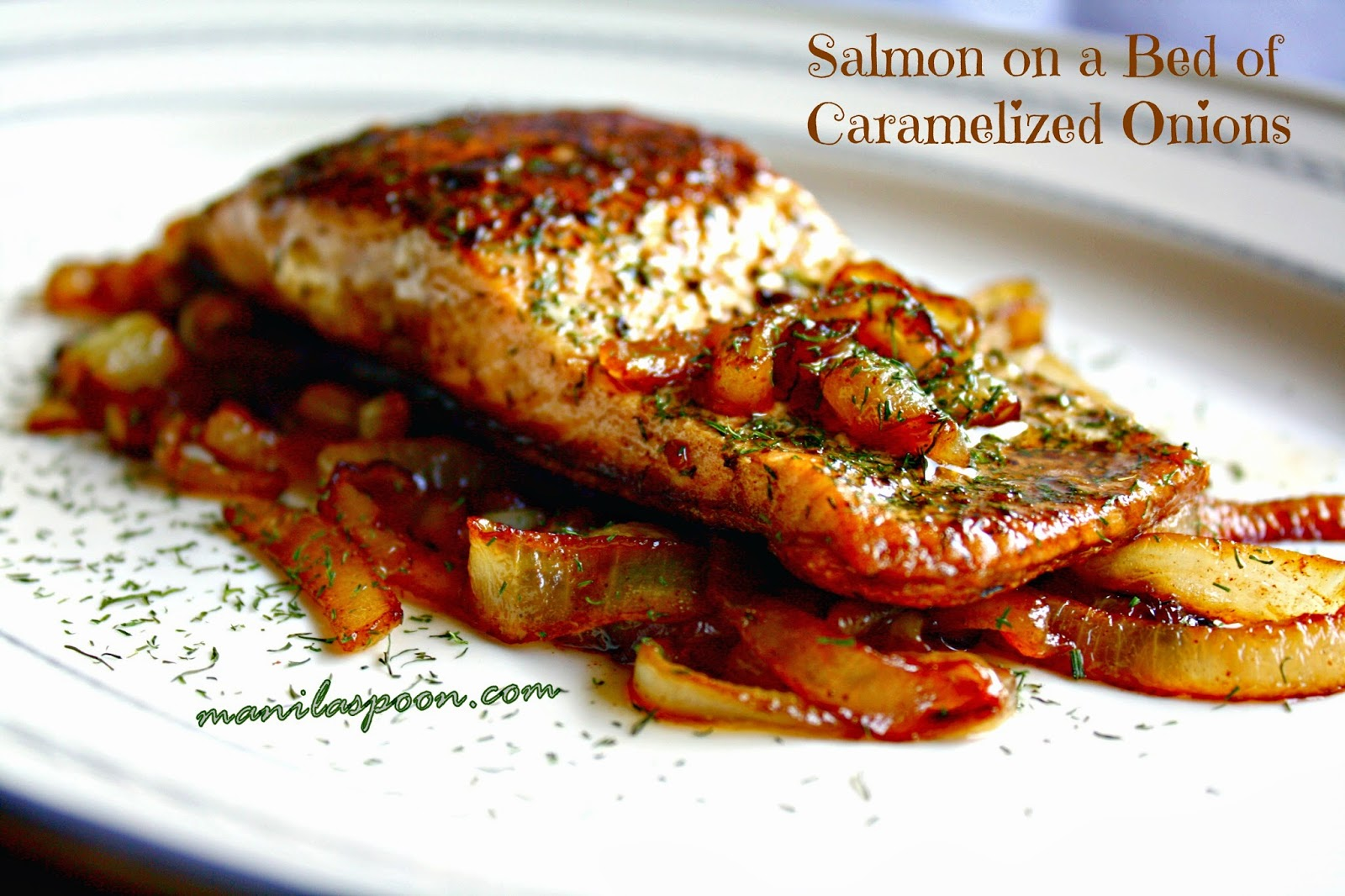 This super EASY recipe is so delicious that even kids love it! The caramelized onions are sweet and add so much flavor to the fish - SALMON ON A BED OF CARAMELIZED ONIONS.