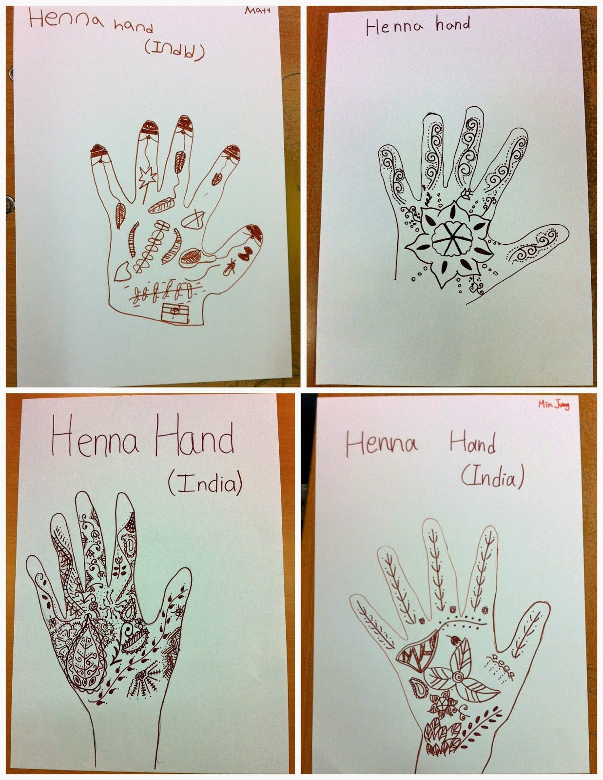 henna hands drawing elementary art project