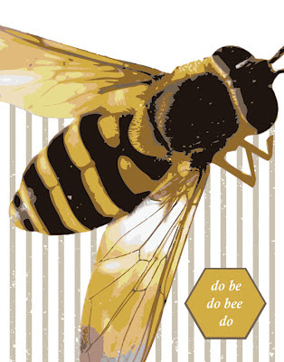 illustration of bee on a striped background with text