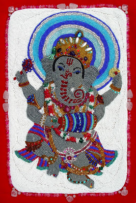 Janet Dann, bead embroidery, ganesh