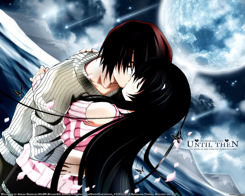 cute anime wallpapers. cute anime couples kiss.