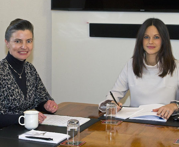 Princess Sofia Hellqvist of Sweden met with Pernilla Hilleras, research director of Sophiahemmets University at Stockholm Royal Palace. Sofia Hellqvist Style