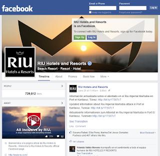 Page FB de RIU en berne