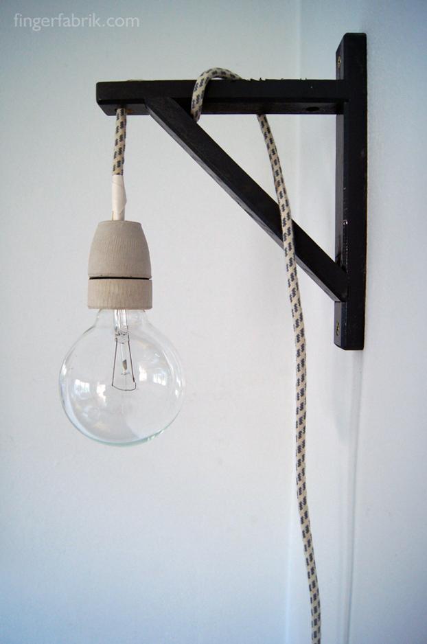 diy cable lamp from a valter shelf holder get home decorating. Black Bedroom Furniture Sets. Home Design Ideas