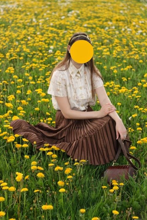 dandelion, vintage, pleated skirt, 1940s, yellow, brown