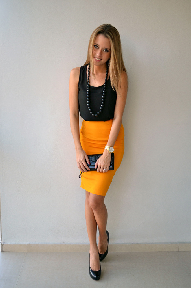 mustard pencil skirt our favorite style