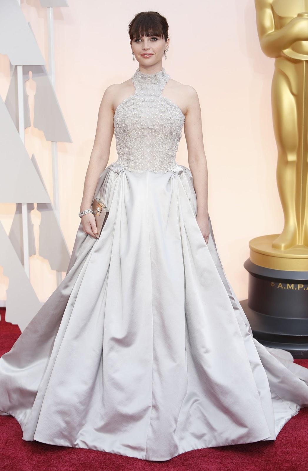 Felicity Jones in Alexander Mcqueen at the Oscars 2015