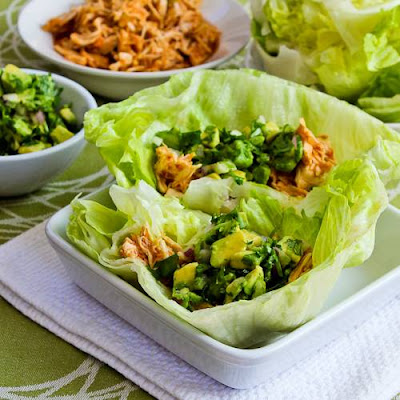 Slow Cooker Spicy Shredded Chicken Lettuce Wrap Tacos