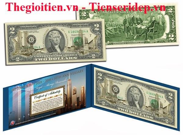 2 usd mạ vàng kỉ niệm ngày 11-09-2001