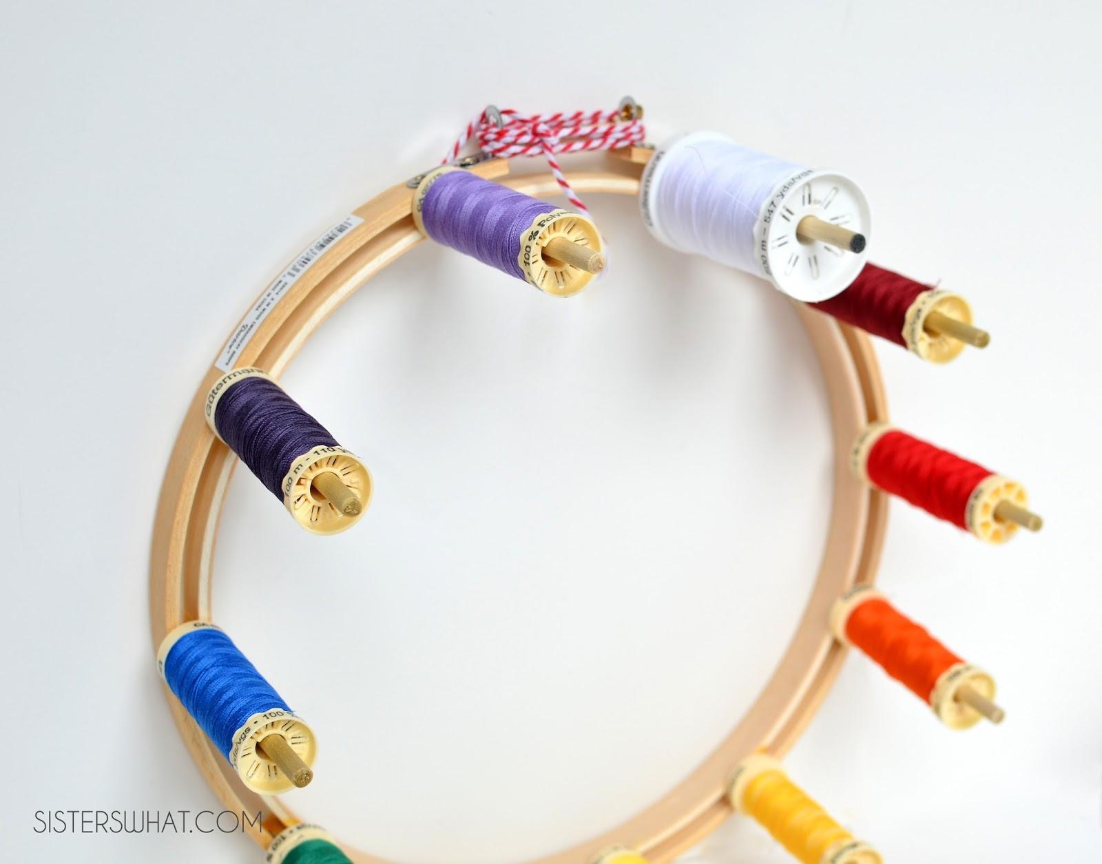 Embroidery hoop thread organizer february pinterest
