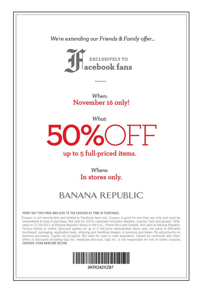 Nov 06, · Banana Republic coupon codes provide instant savings during checkout. Enter your account and shipping information first. Then you'll find the entry field on the payment information page. Enter your code and click Apply to have the discount factored into your subtotal. Sometimes you can even add multiple promotions to the same order.
