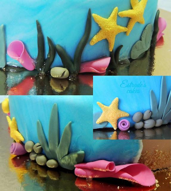 tarta playa con fondant - 4