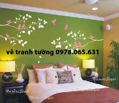vẽ tranh tường phòng ngủ,phòng khách đẹp