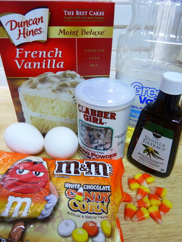 Cookin' Cowgirl: M&M's White Chocolate Candy Corn Cake Batter Coo...