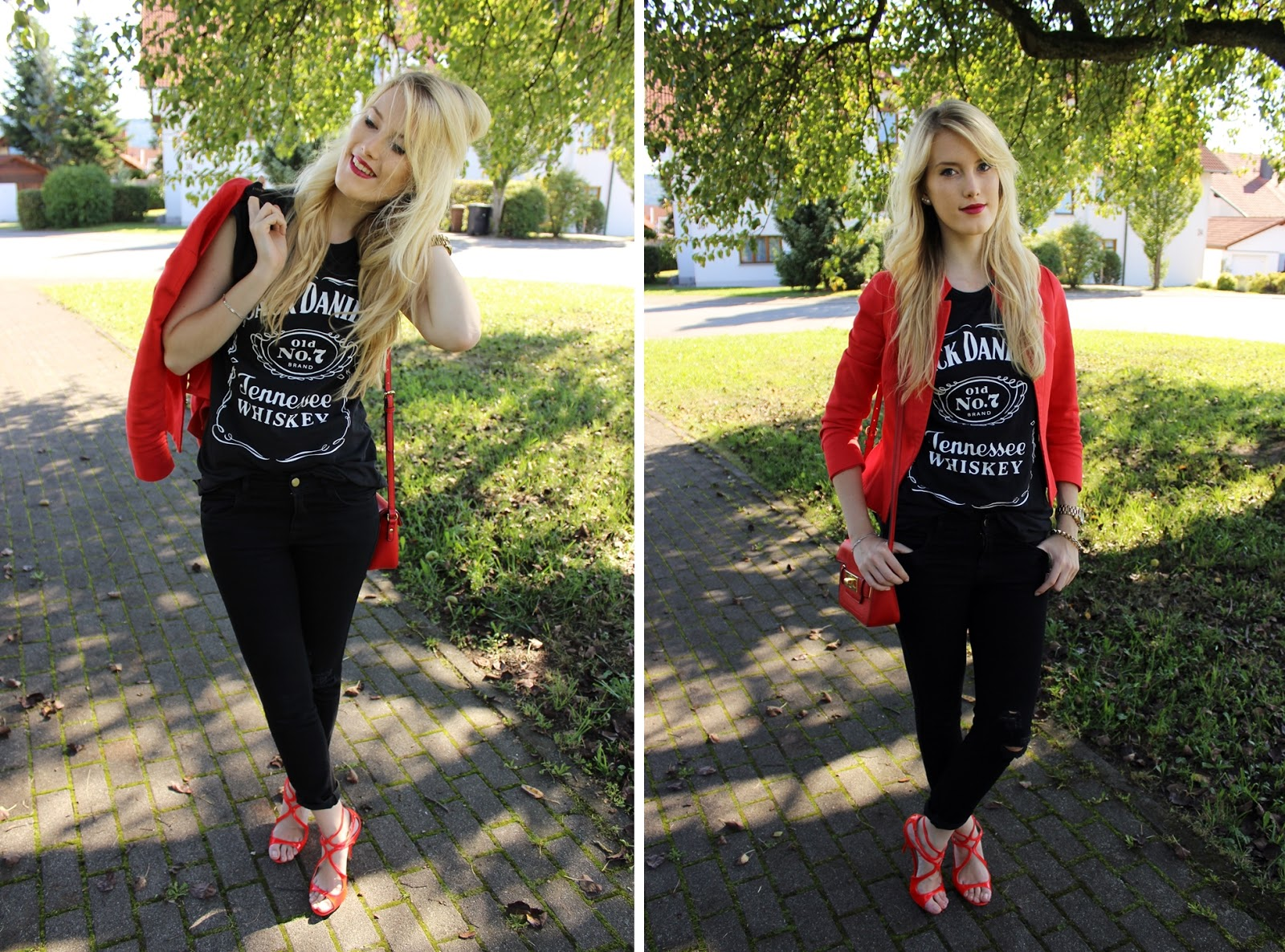 TheBlondeLion Outfit JackDaniels Heels Schuhtempel24 Rot