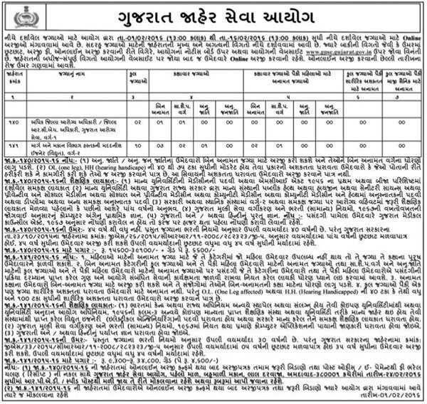 GPSC Add. District Health Officer & Assistant Engineer Recruitment 2016