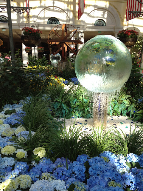 Glass fountain sphere at Bellagio in the Conservatory