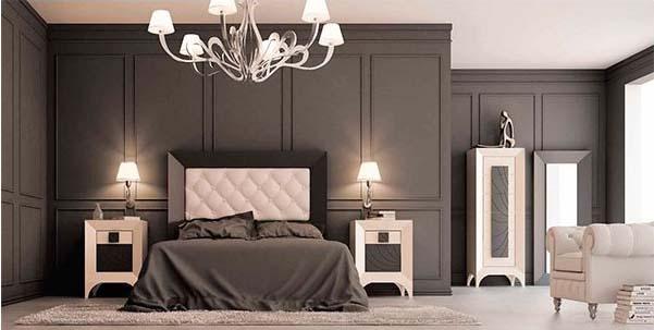 dormitorio de aire neoclsico con patas isabelinas en la mesita