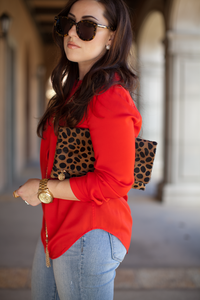 karen walker sunglasses, michael kors watch, clare vivier leopard clutch